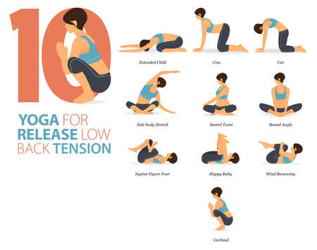 8 Yoga poses or asana posture for workout in Release Low Back Tension concept. Women exercising for body stretching. Fitness infographic. Flat cartoon vector