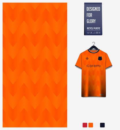 Soccer jersey pattern design. Zig Zag pattern on orange abstract background for soccer kit, football kit or sports uniform. T-shirt mockup template. Fabric pattern. Sport background. Vector