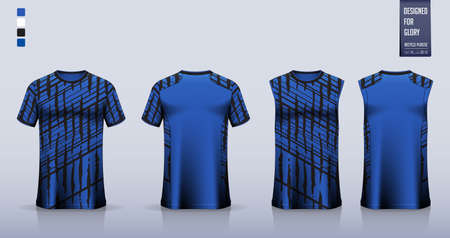 Soccer jersey, football kit, t-shirt mockup or sport shirt template design for. Tank top for basketball jersey or running singlet. Fabric pattern for sport uniform in front view back view. Vector.