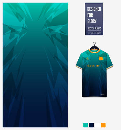 Soccer jersey pattern design.  Abstract pattern on green background for soccer kit, football kit or sports uniform. T-shirt mockup template. Fabric pattern. Sport background. Vector Ilustração