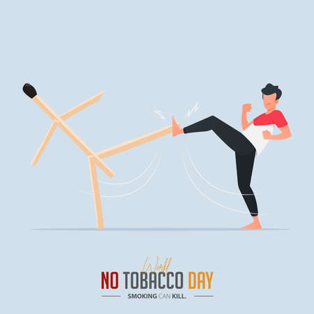 May 31st World No Tobacco Day poster design. Man boxing with match defines to man fighting to quit smoking. Stop smoking poster for disease warning. No smoking banner. Cartoon Vector Illustration.