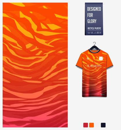 Soccer jersey pattern design. Abstract pattern on orange background for soccer kit, football kit or sports uniform. T-shirt mockup template. Fabric pattern. Sport background. Ilustração