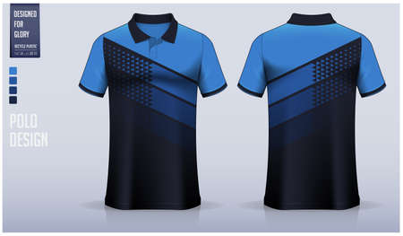 Blue Polo shirt mockup template design for soccer jersey, football kit, sportswear. Sport uniform in front view, back view. T-shirt mockup with fabric pattern. Shirt Mockup Vector Illustration