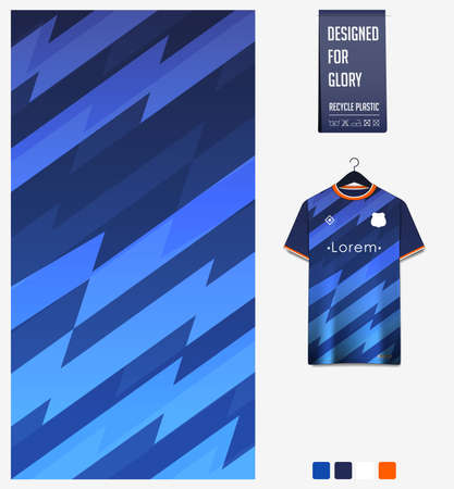 Soccer jersey pattern design. Thunder pattern on blue background for soccer kit, football kit, bicycle, e-sport, basketball, t-shirt mockup template. Fabric pattern. Sport background. Vector Ilustração