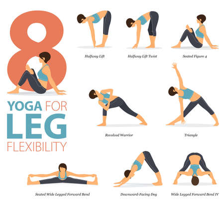8 Yoga poses or asana posture for workout in Leg Flexibility concept. Women exercising for body stretching. Fitness infographic. Flat cartoon vector