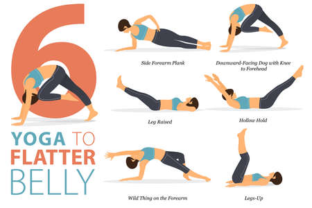 6 Yoga poses or asana posture for workout in Flatter Belly concept. Women exercising for body stretching. Fitness infographic. Flat cartoon vector
