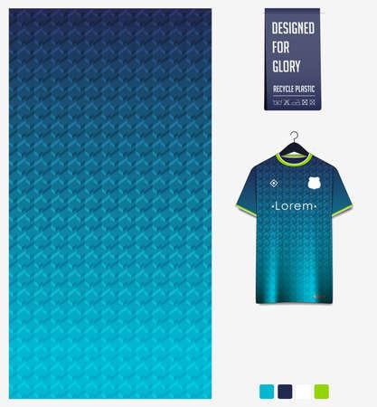 Soccer jersey pattern design. Geometric pattern on blue abstract background for soccer kit, football kit, e-sport, basketball, t-shirt mockup template. Fabric pattern. Sport background. Vector.