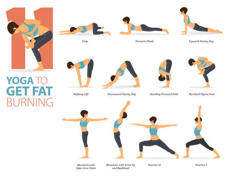 11 Yoga poses or asana posture for workout in Fat Burning concept. Women exercising for body stretching. Fitness infographic. Flat cartoon vector