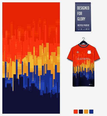 Soccer jersey pattern design.  Abstract pattern on orange background for soccer kit, football kit or sports uniform. T-shirt mockup template. Fabric pattern. Sport background. Vector Ilustração