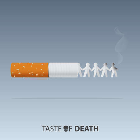 May 31st World No Tobacco Day banner design. Cigarettes are burning paper dolls to convey the dangers of smoking. Stop smoking poster for disease warning. No smoking sign. Vector Illustration.