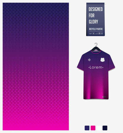 Soccer jersey pattern design. Zig Zag pattern on violet abstract background for soccer kit, football kit, bicycle, e-sport, basketball, t-shirt mockup template. Fabric pattern. Sport background.Vector