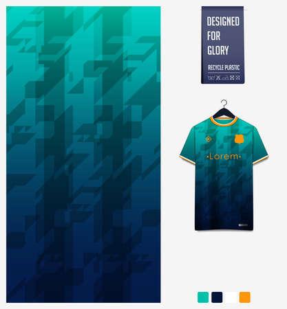 Soccer jersey pattern design. Geometric pattern on green abstract background for soccer kit, football kit, bike, e-sport, basketball, t-shirt mockup template. Fabric pattern. Sport background. Vector Ilustração