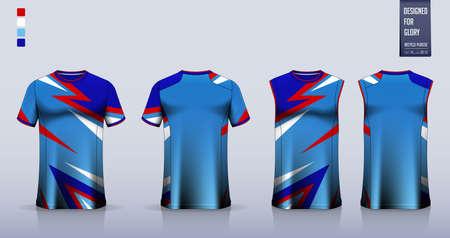 T-shirt sport, Soccer jersey, football kit, basketball uniform, tank top, and running singlet mockup. Fabric pattern design. Vector. Ilustração