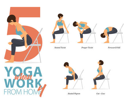 5 Yoga poses or asana posture for workout in working at home concept. Women exercising for body stretching. Fitness infographic. Flat cartoon vector