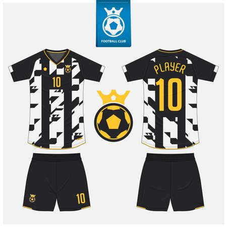 Soccer jersey or football kit mockup template design for sport club. Football shirt, shorts mockup. Soccer uniform in front view, back view. Soccer logo in flat design. Vector Illustration.