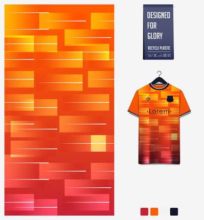 Soccer jersey pattern design. Geometric pattern on orange abstract background for soccer kit, football kit or sports uniform. T-shirt mockup template. Fabric pattern. Sport background.