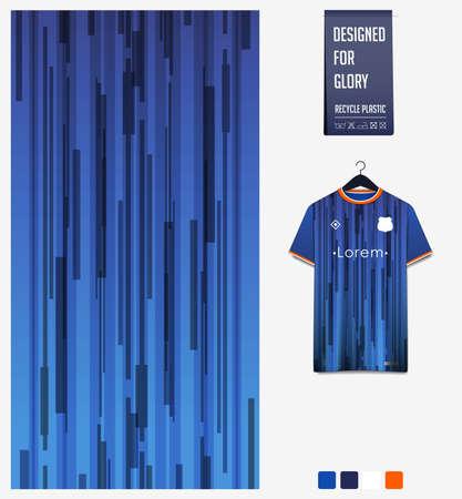 Soccer jersey pattern design. Geometric pattern on blue abstract background for soccer kit, football kit or sports uniform. T-shirt mockup template. Fabric pattern. Sport background. Vector