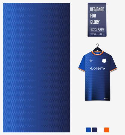 Soccer jersey pattern design. Zig Zag pattern on blue abstract background for soccer kit, football kit or sports uniform. T-shirt mockup template. Fabric pattern. Sport background. Vector Ilustração