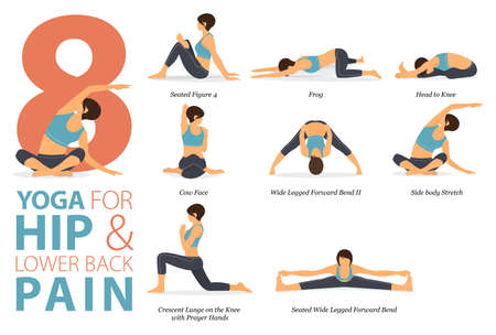 8 Yoga poses or asana posture for workout in Hip and Lower Back Pain concept. Women exercising for body stretching. Fitness infographic. Flat cartoon vector