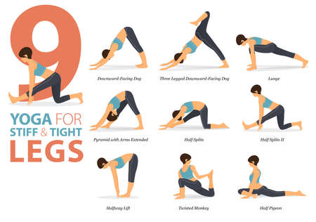 9 Yoga poses or asana posture for workout in Stiff and Tight Legs concept. Women exercising for body stretching. Fitness infographic. Flat cartoon vector