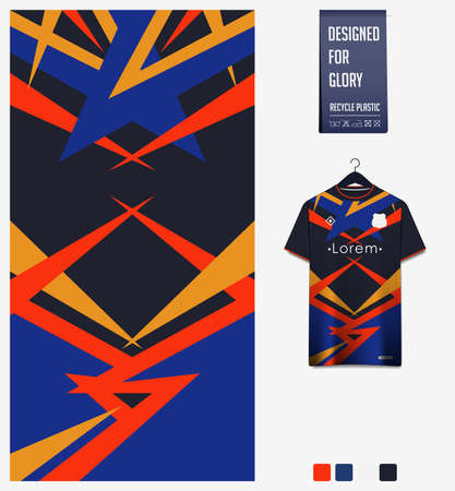 Soccer jersey pattern design.  Abstract pattern on blue background for soccer kit, football kit or sports uniform. T-shirt mockup template. Fabric pattern. Sport background. Vector