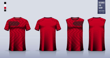 Soccer jersey, football kit, t-shirt mockup or sport shirt template design for. Tank top for basketball jersey or running singlet. Fabric pattern for sport uniform in front view back view. Vector Ilustração