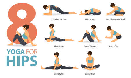8 Yoga poses or asana posture for workout in Yoga for Hips concept. Women exercising for body stretching. Fitness infographic. Flat cartoon vector Ilustração