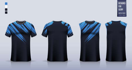 Soccer jersey, football kit, t-shirt mockup or sport shirt template design for. Tank top for basketball jersey or running singlet. Fabric pattern for sport uniform in front view back view. Vector. Ilustração