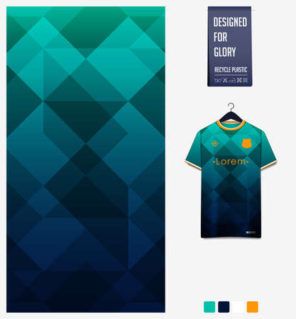 Soccer jersey pattern design. Geometric pattern on green abstract background for soccer kit, football kit, bicycle, e-sport, basketball, t-shirt mockup template. Fabric pattern. Sport background.