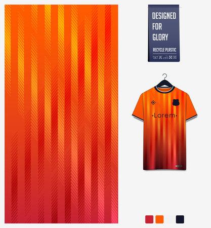 Soccer jersey pattern design. Stripe pattern on orange abstract background for soccer kit, football kit or sports uniform. T-shirt mockup template. Fabric pattern. Sport background.
