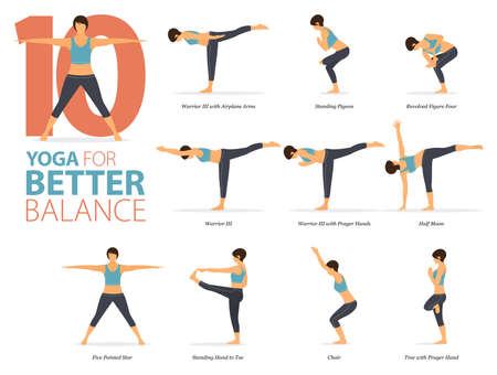 10 Yoga poses or asana posture for workout in Better Balance concept. Women exercising for body stretching. Fitness infographic. Flat cartoon vector Ilustração