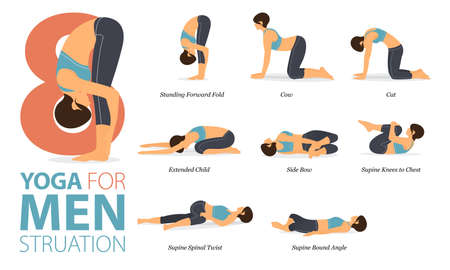 8 Yoga poses or asana posture for workout in Menstruation concept. Women exercising for body stretching. Fitness infographic. Flat cartoon vector