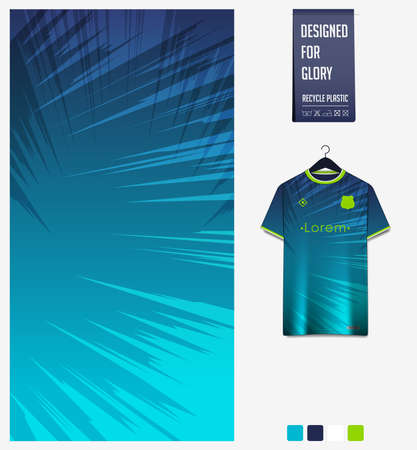Soccer jersey pattern design.  Abstract pattern on blue background for soccer kit, football kit or sports uniform. T-shirt mockup template. Fabric pattern. Sport background. Vector. Ilustração