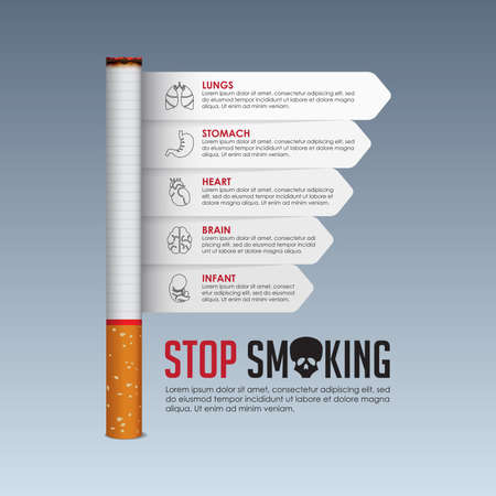 May 31st World No Tobacco Day banner design. Cigarette poisoning concept. Stop smoking poster for awareness campaign. Danger from the tobacco infographic. No Smoking Day Banner. Vector Illustration. Ilustração