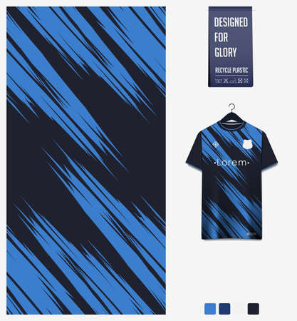 Soccer jersey pattern design.  Abstract pattern on blue background for soccer kit, football kit or sports uniform. T-shirt mockup template. Fabric pattern. Sport background. Ilustração