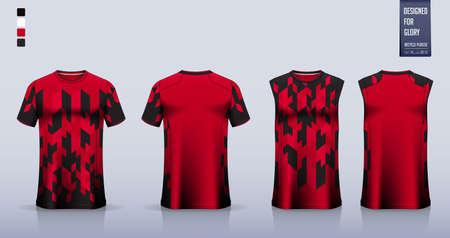 Red T-shirt sport, Soccer jersey, football kit, basketball uniform, tank top, and running singlet mockup. Fabric pattern design. Vector. Ilustração