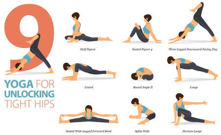 9 Yoga poses or asana posture for workout in Yoga for Unlocking Tight Hips concept. Women exercising for body stretching. Fitness infographic. Flat cartoon vector
