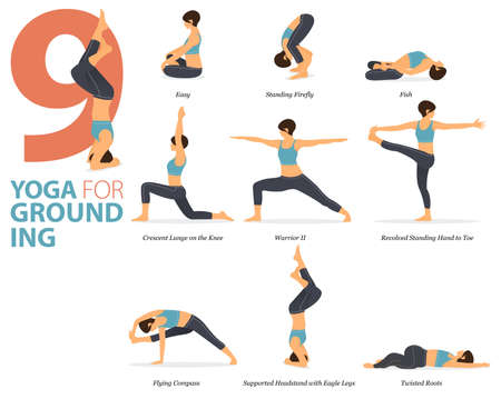 9 Yoga poses or asana posture for workout in Yoga for grounding concept. Women exercising for body stretching. Fitness infographic. Flat cartoon vector