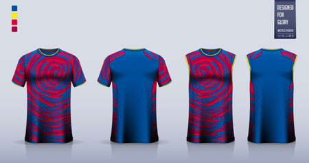 Soccer jersey, football kit, t-shirt mockup or sport shirt template design for. Tank top for basketball jersey or running singlet. Fabric pattern for sport uniform in front view back view. Vector. 矢量图像