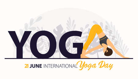 Beautiful woman doing yoga or asana for 21 June International Yoga Day Celebration poster or banner on flower background. Girl workout or exercising for body stretching. Vector Illustration. 矢量图像