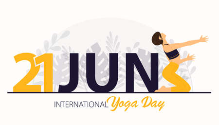Beautiful woman doing yoga pose or asana posture for 21 June International Yoga Day Celebration poster or banner on flower background. Girl workout or exercising for body stretching. Vector.