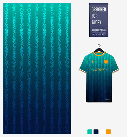 Soccer jersey pattern design. Geometric pattern on green abstract background for soccer kit, football kit or sports uniform. T-shirt mockup template. Fabric pattern. Sport background.