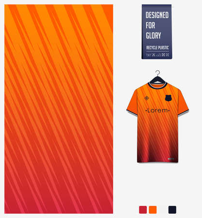 Soccer jersey pattern design. Abstract pattern on orange background for soccer kit, football kit, bicycle, e-sport, basketball, t-shirt mockup template. Fabric pattern. Sport background. Vector.
