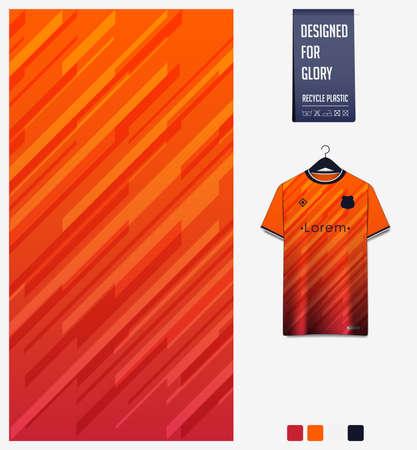 Soccer jersey pattern design. Geometric pattern on orange background for soccer kit, football kit, bicycle, e-sport, basketball, t-shirt mockup template. Fabric pattern. Sport background. Vector. 矢量图像
