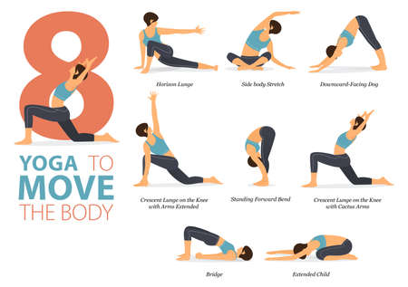 8 Yoga poses or asana posture for workout in Yoga to move body concept. Women exercising for body stretching. Fitness infographic. Flat cartoon vector