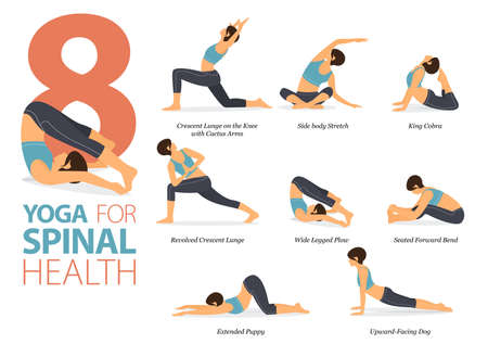 8 Yoga poses or asana posture for workout in yoga for spinal health concept. Women exercising for body stretching. Fitness infographic. Flat cartoon vector