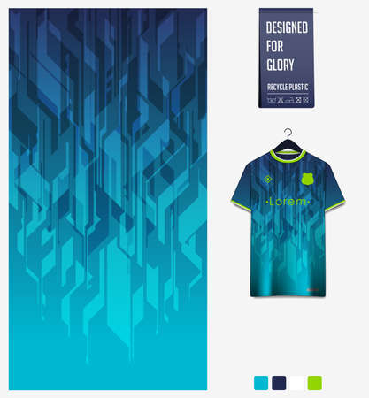 Soccer jersey pattern design. Geometric pattern on blue abstract background for soccer kit, football kit, bicycle, e-sport, basketball, t-shirt mockup template. Fabric pattern.Sport background. Vector 矢量图像