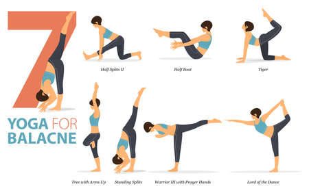 7 Yoga poses or asana posture for workout in yoga for balance concept. Women exercising for body stretching. Fitness infographic. Flat cartoon vector 矢量图像