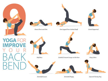 9 Yoga poses or asana posture for workout in yoga for improve back bend concept. Women exercising for body stretching. Fitness infographic. Flat cartoon vector