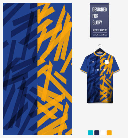 Soccer jersey pattern design.  Abstract pattern on blue background for soccer kit, football kit or sports uniform. T-shirt mockup template. Fabric pattern. Sport background. 矢量图像